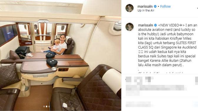 Marissa Nasution dan buah hati, Alaia Moana atau yang akrab disapa Allie saat terbang bersama ke Auckland, Selandia Baru. (dok. Instagram @marissaln/https://www.instagram.com/p/B72-T9jn0HH/Putu Elmira)