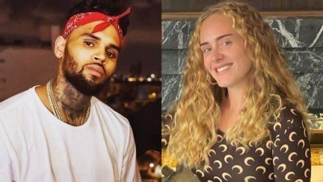 Chris Brown Terciduk Berkunjung ke Rumah Adele Tengah Malam, Pacaran?