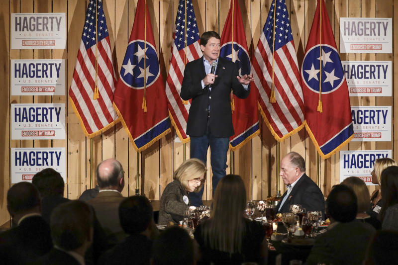 Former U.S. Ambassador to Japan Bill Hagerty campaigns for the U.S. Senate Tuesday, Jan. 28, 2020, in Gallatin, Tenn. (AP Photo/Mark Humphrey)