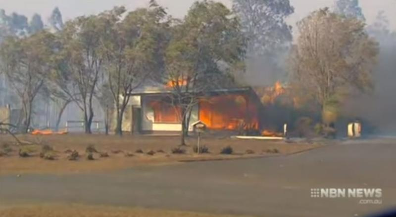 A house on fire at Rappville, NSW.