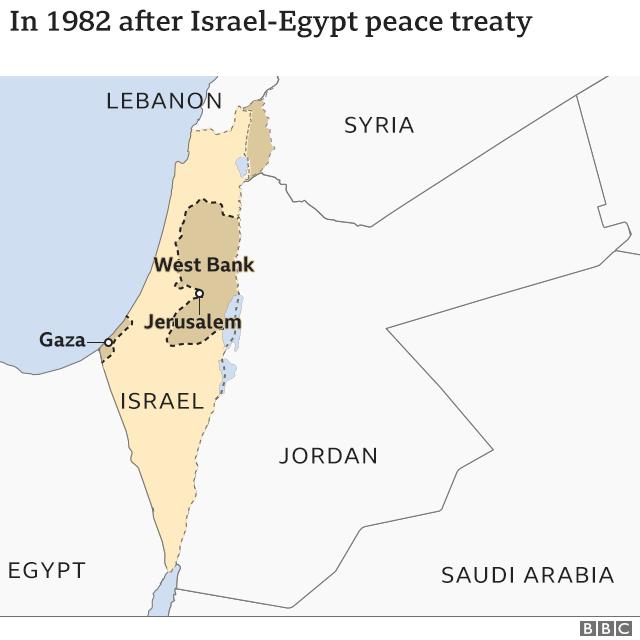 Peta wilayah setelah perjanjian damai Israel-Mesir 1982