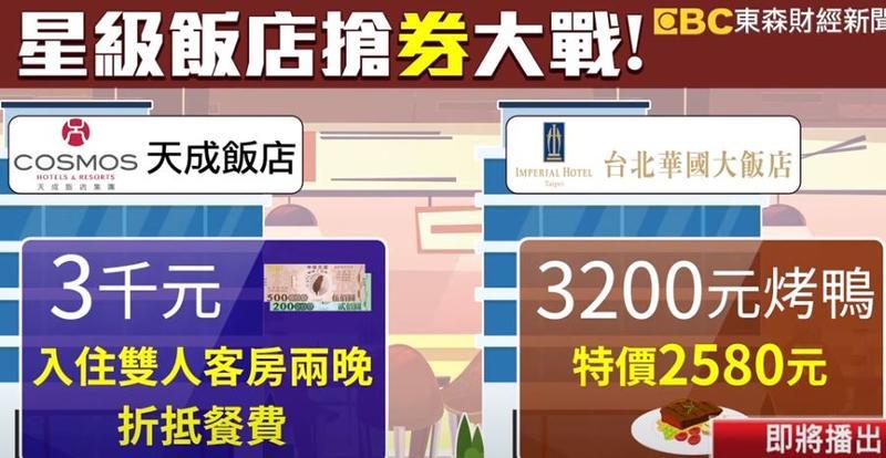 天成飯店則是可以用3千元的三倍券 入住雙人客房兩晚,還能折抵餐費,華國也加碼,原價3200元烤鴨,現在只要2580元。(圖/東森新聞資料畫面)