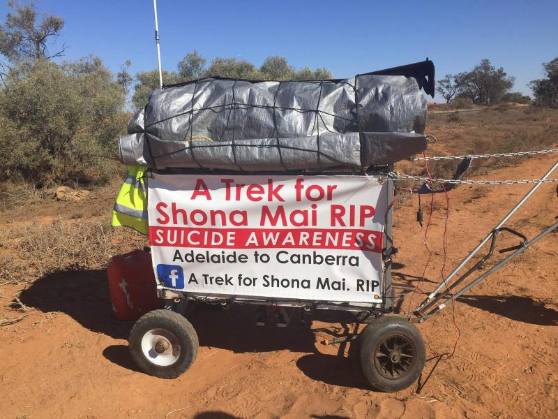 Paul Murcott is walking to Canberra for suicide awareness for his daughter who took her own life. Source: Facebook / A Trek for Shona Mai. RIP