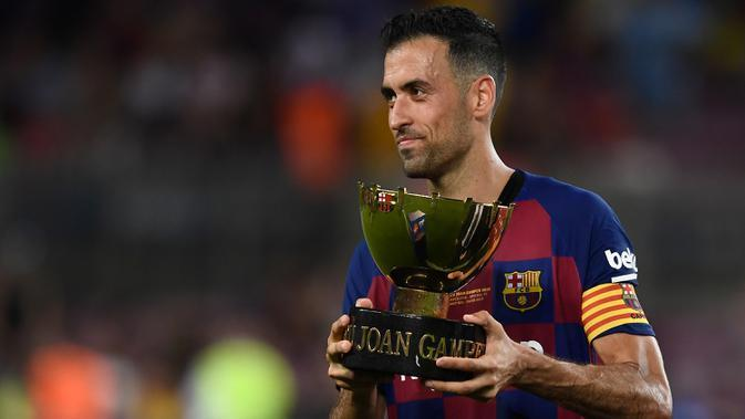 Sergio Busquets, gelandang Barcelona berusia 31 tahun. (AFP/Josep Lago)