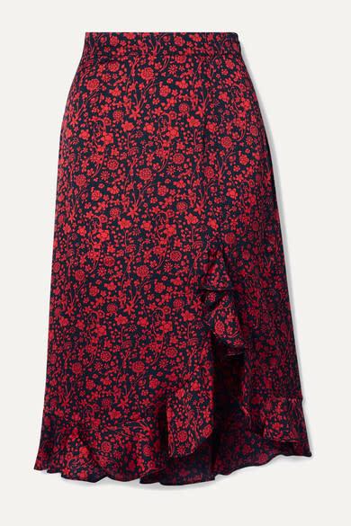 Maje Javie Ruffled Satin Skirt