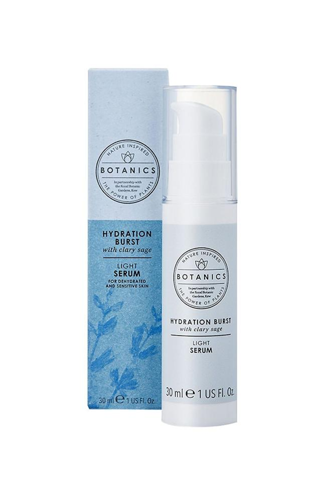 """<p><strong>Botanics</strong></p><p>target.com</p><p><strong>$13.99</strong></p><p><a href=""""https://www.target.com/p/botanics-hydration-burst-light-serum-1-fl-oz/-/A-53733711"""" target=""""_blank"""">Shop Now</a></p><p>Give thirsty skin a mega dose of moisture that will prevent it from feeling parched for a full day. The non-greasy formula is infused with Clary Sage extract and a blend of antioxidants that help to restore your skin's natural barrier and calm sensitivity, too.</p>"""