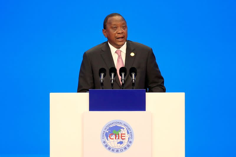 FILE PHOTO: Kenyan President Uhuru Kenyatta speaks at the opening ceremony for the first China International Import Expo (CIIE) in Shanghai