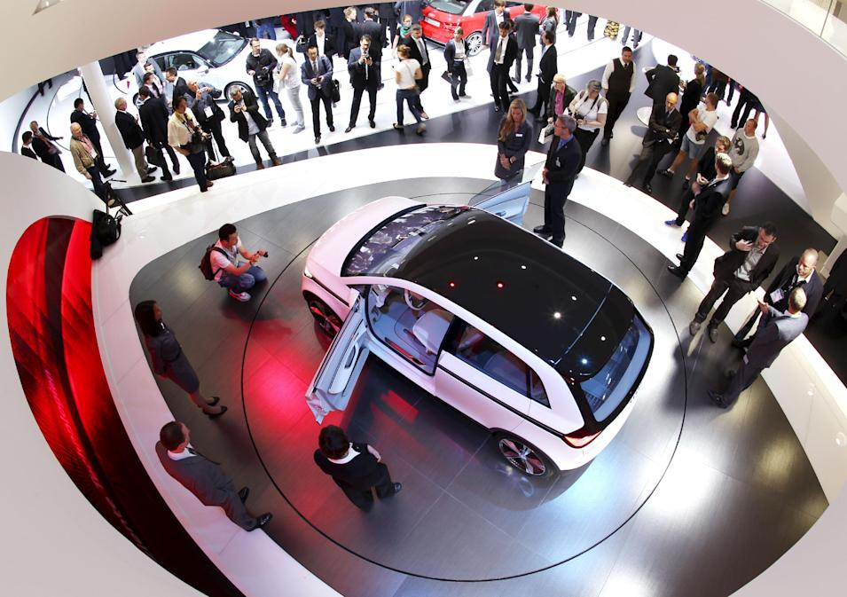 An Audi A2 concept car is presented at the 64th Frankfurt Auto Show in Frankfurt, Germany, Wednesday, Sept. 14, 2011. (AP Photo/Michael Probst)