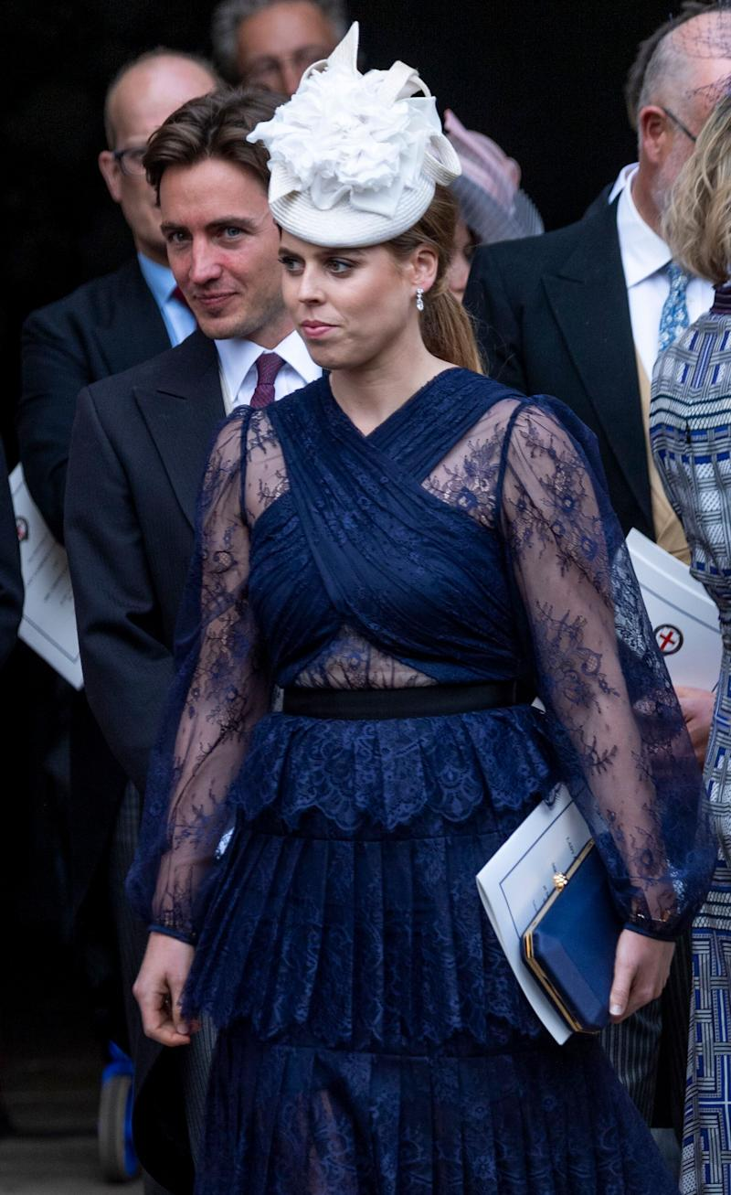 Princess Beatrice attends the wedding of Lady Gabriella Windsor and Mr Thomas Kingston at St George's Chapel on May 18, 2019 in Windsor, England.