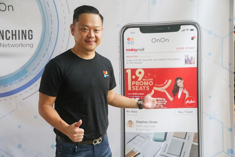 Founder of OnOn Tech Sdn Bhd Sanny Chin speaks to Malay Mail in Sepang October 21, 2019. — Picture by Choo Choy May