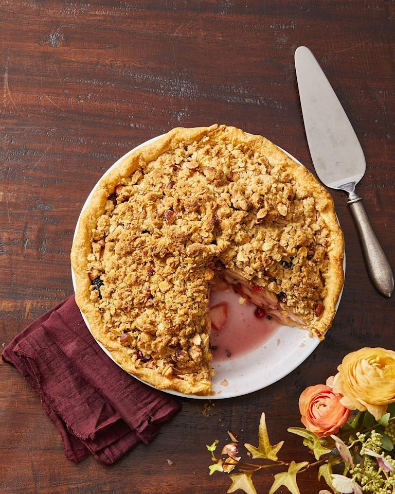 """<p>The cinnamon and clove spiced topping, plus the sky-high filling, makes this an ideal dessert for the holidays (or anytime, really).</p><p><a href=""""https://www.goodhousekeeping.com/food-recipes/dessert/a29441206/pear-berry-crumb-pie-recipe/"""" target=""""_blank""""></a><em><a href=""""https://www.goodhousekeeping.com/food-recipes/dessert/a29441206/pear-berry-crumb-pie-recipe/"""" target=""""_blank"""">Get the recipe for Pear and Berry Crumb Pie »</a></em> </p>"""