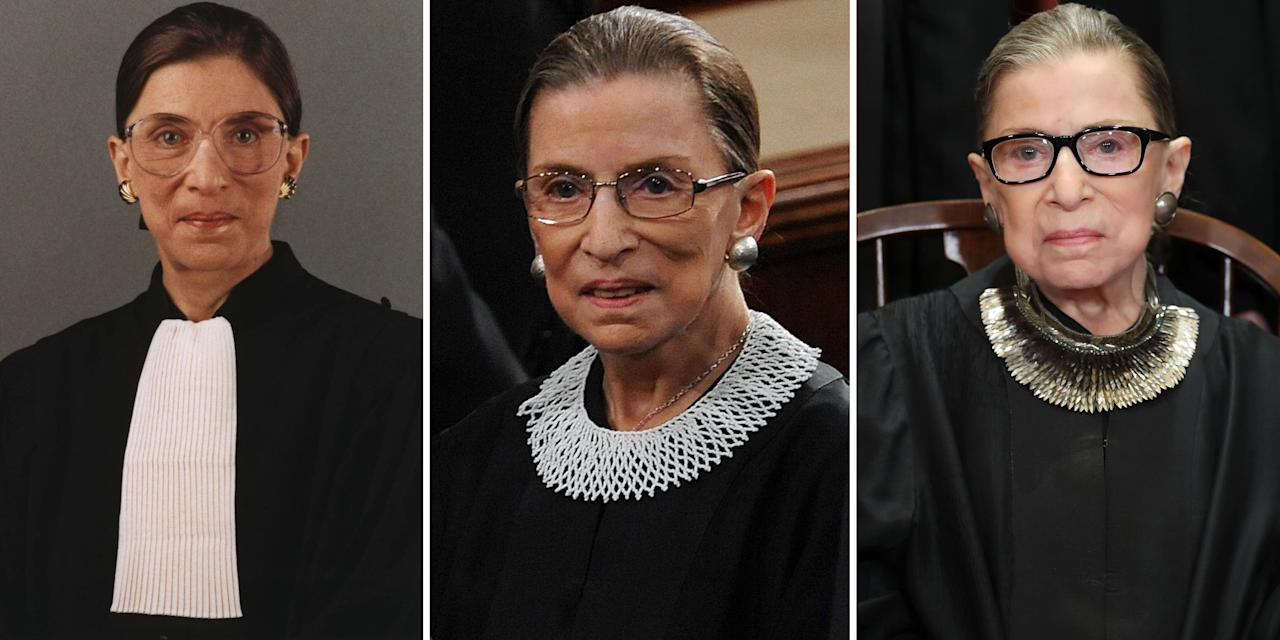 """<p class=""""body-dropcap"""">Ruth Bader Ginsburg passed away at 87 from metastatic pancreatic cancer<em> </em>last Friday. The Supreme Court justice spent 27 years on the bench and was the second woman to hold the title, following Sandra Day O'Connor. </p><p>During her tenure, Ginsburg was known for championing progressive causes, providing dissenting opinions, and wearing an array of jabots over her traditional black robes. In a position that was for too long dominated by men, she wanted to bring a touch of femininity to the court.<br></p><p>""""You know, the standard robe is made for a man because it has a place for the shirt to show, and the tie,"""" Ginsburg told the <em><a href=""""https://www.washingtonpost.com/wp-dyn/content/article/2009/09/03/AR2009090303790.html"""" target=""""_blank"""">Washington Post</a></em> in 2009. """"So Sandra Day O'Connor and I thought it would be appropriate if we included as part of our robe something typical of a woman. So I have many, many collars.""""</p><p>In a 2014 <a href=""""https://news.yahoo.com/video/justice-ginsburg-exhibits-her-famous-194517521.html"""" target=""""_blank"""">interview with Katie Couric</a>, Ginsburg shared the contents of her closet, specifically her extensive collection of jabots. She explained how she would wear a different style to express her personal opinions about a court ruling or event in Congress. From a <a href=""""https://www.harpersbazaar.com/fashion/trends/a25779096/banana-republic-ruth-bader-ginsburg-dissent-collar/"""" target=""""_blank"""">black bib necklace with rhinestones</a> that conveyed her disapproval to a crochet collar with gold chains that reflected how she was in agreement with her colleagues, we track some of the justice's favorites and what they meant to her.   </p><hr>"""