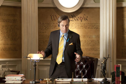 "This image released by AMC shows shady lawyer Saul Goodman, played by Bob Odenkirk, in a scene from the fourth season of ""Breaking Bad."" The series finale of the popular drama series aired on Sunday, Sept. 29. (AP Photo/AMC, Ursula Coyote)"