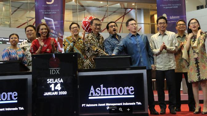 PT Ashmore Asset Management Indonesia Tbk resmi mencatatkan sahamnya di Bursa Efek Indonesia (BEI) pada Selasa ini. (Foto: BEI)