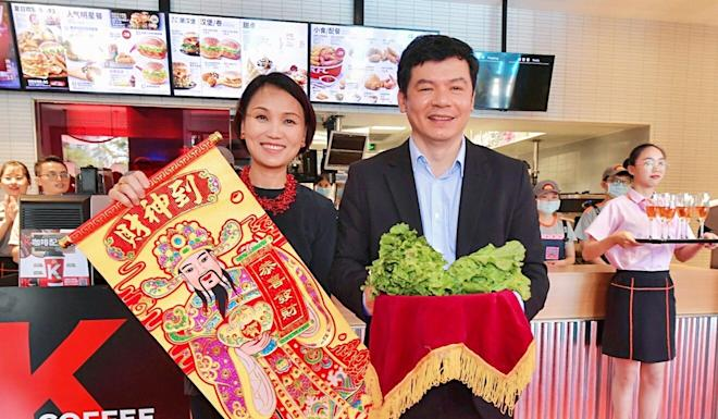 Joey Wat, left, Yum China's chief executive, and Andy Yeung, the company's chief financial officer. Photo: Handout