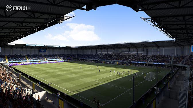 Salah satu stadion di Liga Jerman yang akan dihadirkan pada gim FIFA 21. (Dok. EA Sports/FIFA)