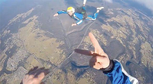 Chilling final moments before tandem skydivers plunge to