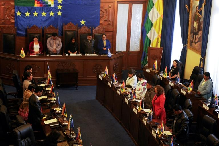 Senators observe a minute of silence at the beginning of a session at Bolivia's Congress in La Paz, on November 23