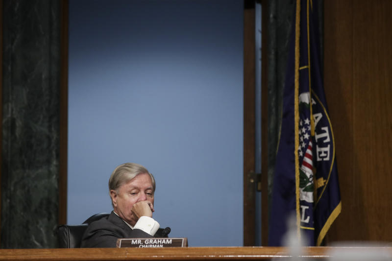 Chairman Sen. Lindsey Graham, R-S.C., presides over a Senate Judiciary Committee hearing on police use of force and community relations on on Capitol Hill, Tuesday, June 16, 2020 in Washington. (Jonathan Ernst/Pool via AP)