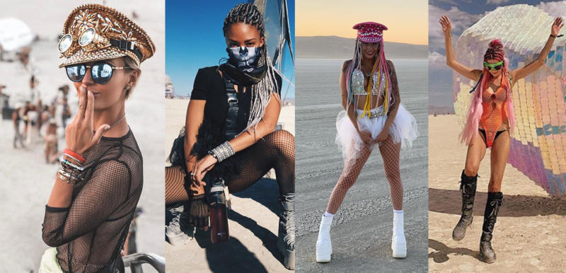 Kelly Gale at Burning Man in fishnet stocking