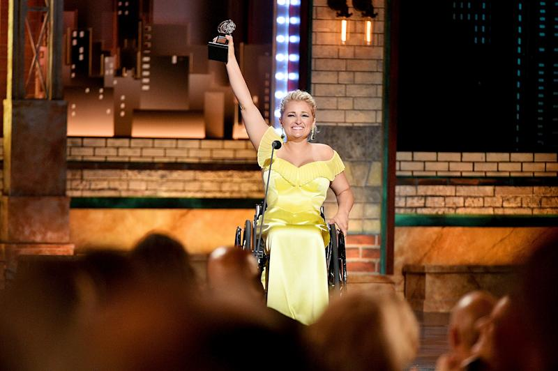 Ali Stroker accepts the Best Performance by an Actress in a Featured Role in a Musical award for Oklahoma! during the 2019 Tony Awards in New York City on June 9, 2019. | Theo Wargo—Tony Awards/Getty Images