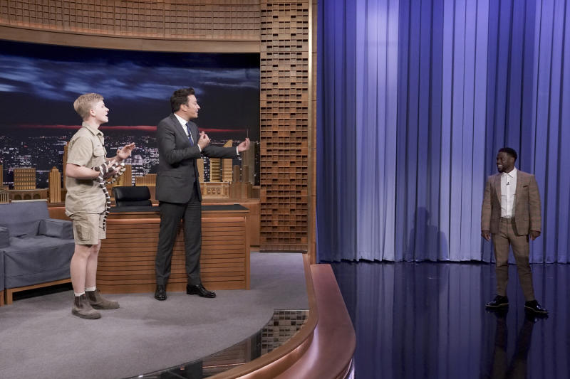 Robert Irwin scares Kevin Hart on Tonight With Jimmy Fallon. Source: Getty