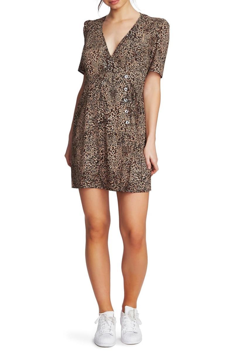 1.State Leopard Print Asymmetrical Button Mini Dress