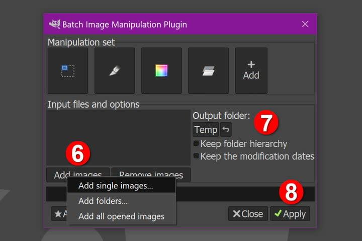 GIMP Output Batch Image Edits