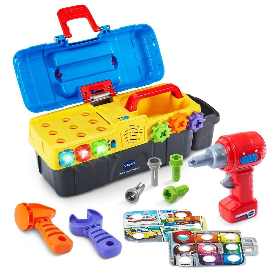"""<p>Got a handy parent in the house? Your little one will love helping out thanks to this just-for-them <a href=""""https://www.popsugar.com/buy/VTech-Drill-amp-Learn-Toolbox-514857?p_name=VTech%20Drill%20%26amp%3B%20Learn%20Toolbox&retailer=amazon.com&pid=514857&price=15&evar1=moms%3Aus&evar9=46010032&evar98=https%3A%2F%2Fwww.popsugar.com%2Ffamily%2Fphoto-gallery%2F46010032%2Fimage%2F46875746%2FVTech-Drill-Learn-Toolbox&list1=gift%20guide%2Ctoddlers%2Ckid%20shopping%2Cgifts%20for%20toddlers&prop13=api&pdata=1"""" rel=""""nofollow"""" data-shoppable-link=""""1"""" target=""""_blank"""" class=""""ga-track"""" data-ga-category=""""Related"""" data-ga-label=""""https://www.amazon.com/dp/B01COSEDKS?"""" data-ga-action=""""In-Line Links"""">VTech Drill &amp; Learn Toolbox</a> ($15, originally $20).</p>"""