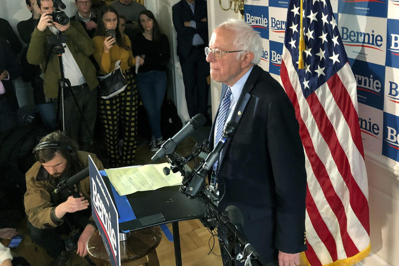 Democratic presidential candidate Sen. Bernie Sanders, I-Vt., speaks at his campaign headquarters, Wednesday, March 4, 2020, in Burlington, Vt. (AP Photo/Wilson Ring)