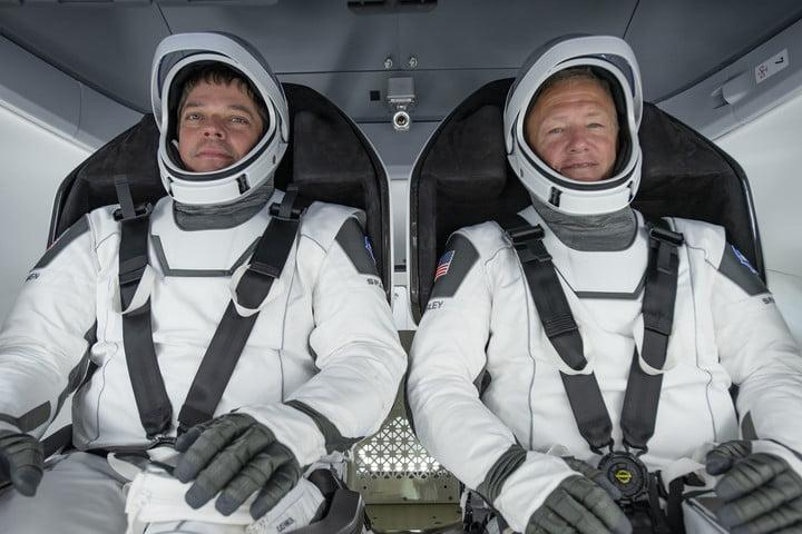 NASA astronauts Bob Behnken (left) and Doug Hurley (right) participate in a test of the Crew Dragon capsule