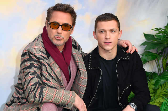 """Robert Downey Jr. and Tom Holland attend the """"Dolittle"""" special screening at Cineworld Leicester Square on January 25, 2020 in London, England. (Photo by Karwai Tang/WireImage)"""