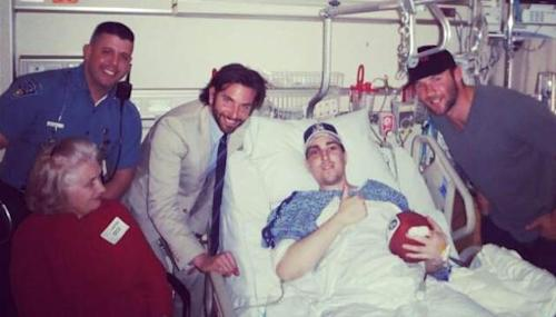 Bradley Cooper seen with Boston Marathon bombing victim Jeffrey Bauman, Jr. and New England Patriots wide receiver Julian Edelman -- Twitter