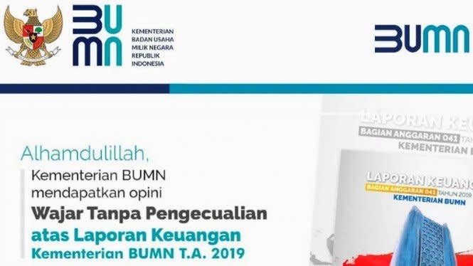 Kementerian BUMN Tambah Deretan WTP-nya di Laporan Keuangan 2019