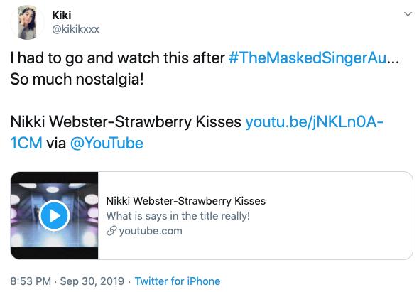 Nikki Webster Masked Singer Alien reveal. Photo: Twitter.