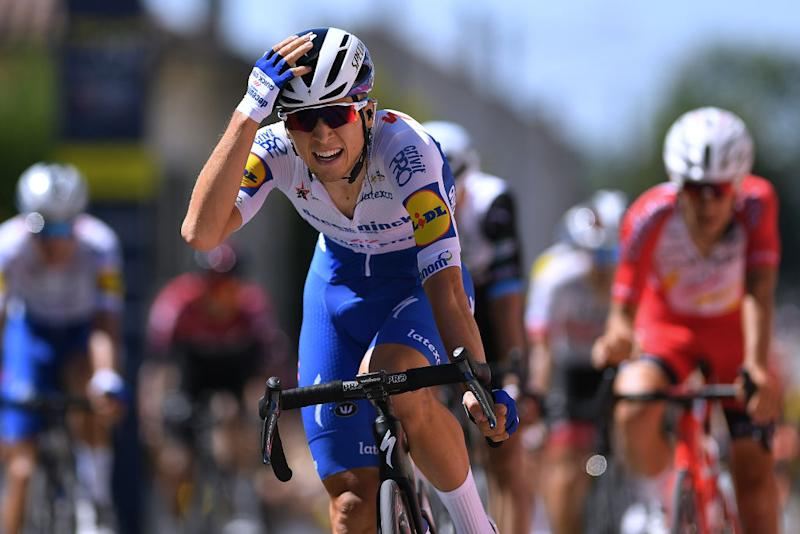 Andrea Bagioli of Deceuninck - Quick-Step takes stage 1 win