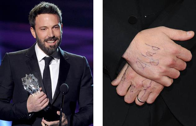 Oscar-snubbed Ben Affleck wears a good luck message from his daughter