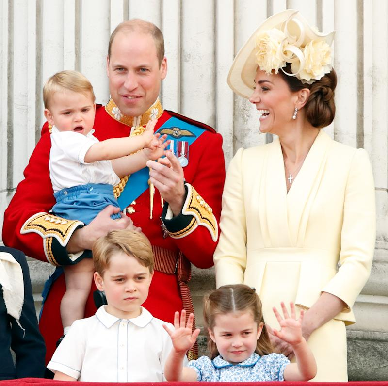 Prince William Kate Middleton Prince George and Princess Charlotte at royal event.