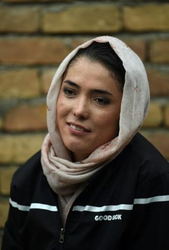 Cyclist Kobra Samim took part in the #MyRedLine campaign that aims to protect women's hard-won advancements in Afghanistan