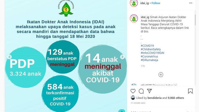 Data jumlah anak yang terinfeksi Corona COVID-19 (sumber: https://www.instagram.com/p/CAflm-WllaU/?igshid=1ey8xhi2c81gs)