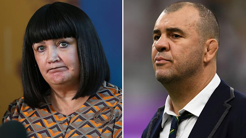 Rugby Australia boss Raelene Castle has taken a subtle swipe at former Wallabies coach Michael Cheika, who offered a parting shot after stepping down from his role over the weekend. Pictures: Getty Images