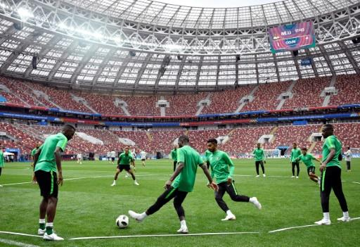 Saudi players train at the Luzhniki stadium in Moscow before they take on Russia in the opening match of the 2018 World Cup