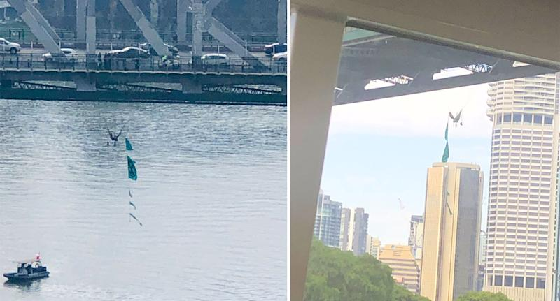 The man is pictured hanging from the Story Bridge. Source: Twitter/ thatpommybloke (left)/ Charlene Dewar (right)