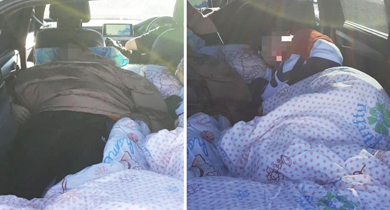 The two teens were caught sleeping in the back of the BMW without seatbelts. Source: Traffic and Highway Patrol - NSW Police