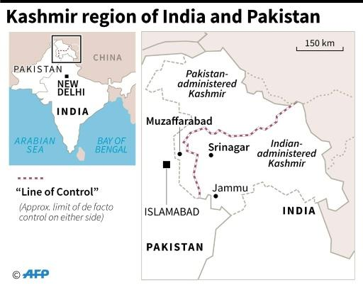 Map showing the Kashmir region of India and Pakistan