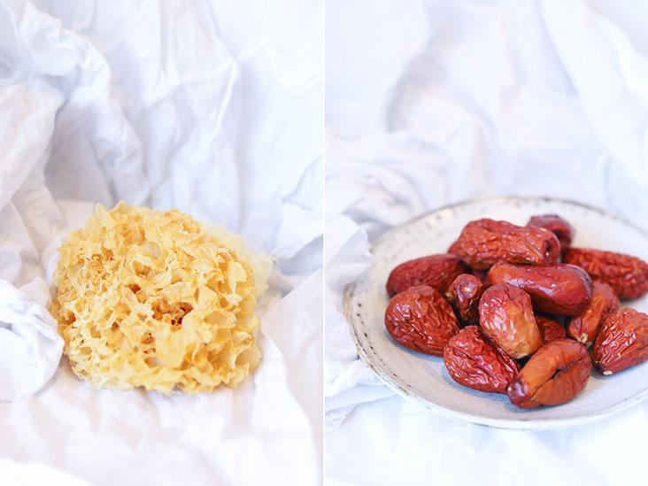 Snow fungus is considered a health and beauty tonic (left) while red dates help alleviate insomnia (right)