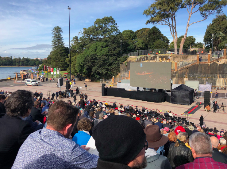 Thousands gathered outside the Opera House for the memorial. Source: NSW Unions