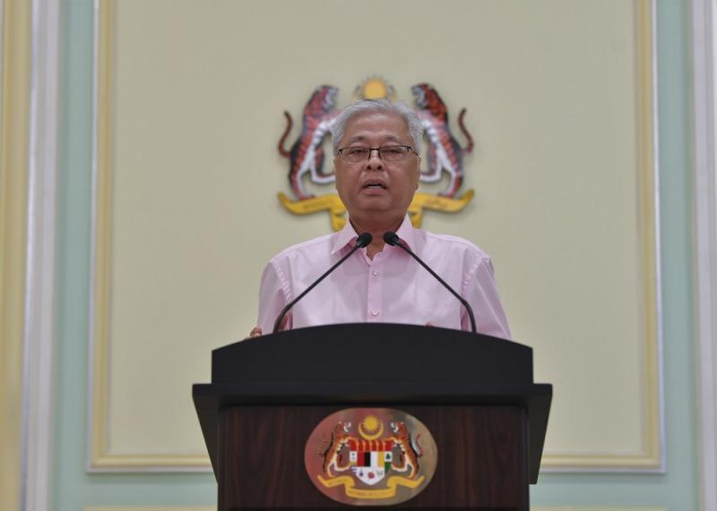 Senior Minister Datuk Seri Ismail Sabri Yaakob speaks during a press conference in Putrajaya April 10, 2020. — Bernama pic