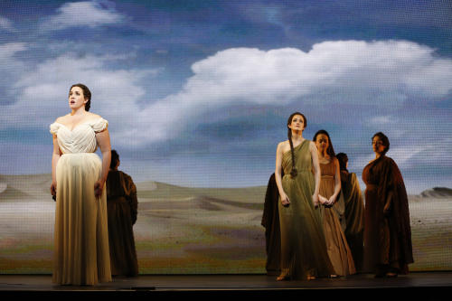 "In this April 12, 2013 photo provided by the New York City Opera, soprano Sian Davies, left, sings the role of Elcia with Emily Righter, center right, in the role of Amenofi during the New York City Opera's final dress rehearsal of Rossini's rarely performed ""Mose in Egitto (Moses in Egypt),"" at the City Center in New York. (AP Photo/New York City Opera, Carol Rosegg)"