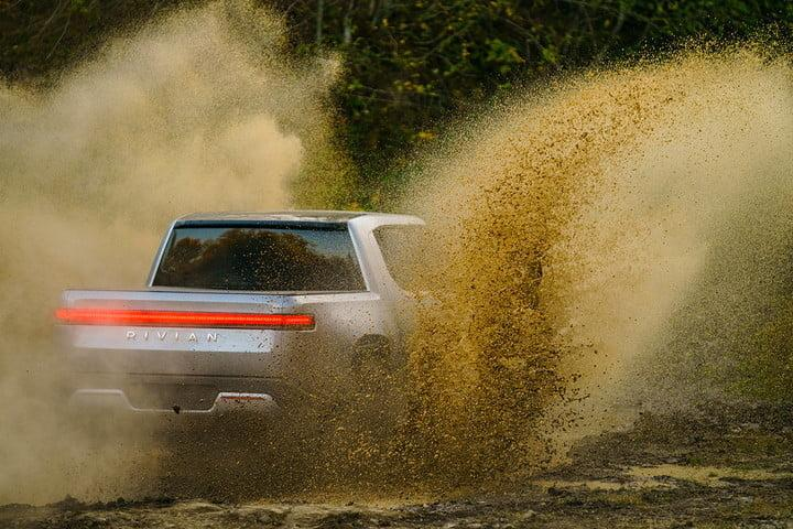 Rivian R1T in the mud